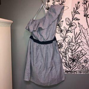 One shoulder blue formal  mini dress